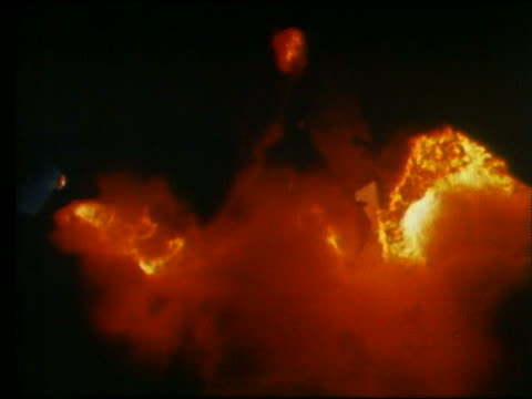 extreme close up of flames from rocket igniting