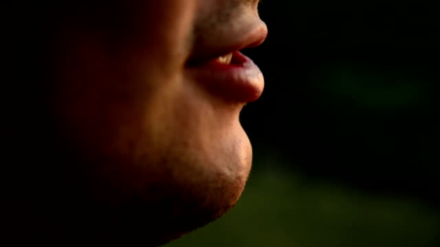 extreme close up of man talking - human mouth stock videos & royalty-free footage