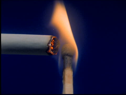 extreme close up of match lighting cigarette - cigarette stock videos & royalty-free footage
