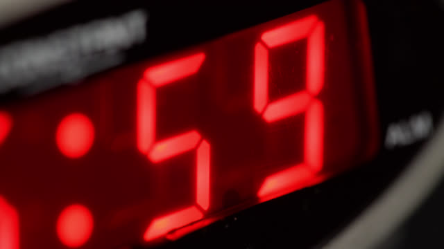 Extreme close up of red time display on a digital alarm clock