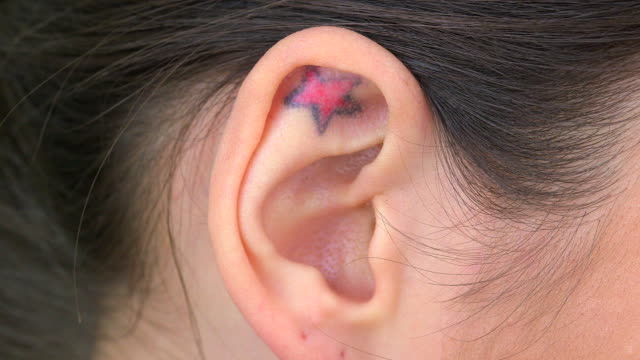 Extreme close up of tattoo in ear