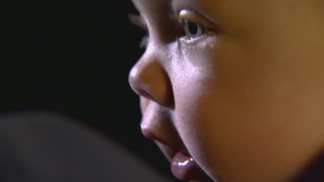 Extreme close up on an infants face