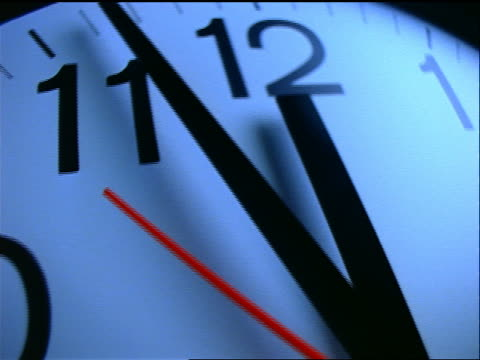 extreme close up OVERHEAD tracking shot over ticking wall clock with black background
