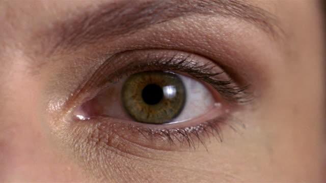 Extreme close up pan human eye