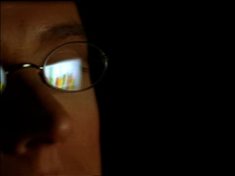 Extreme close up pan man's face with reflection of projected graph in eyeglasses