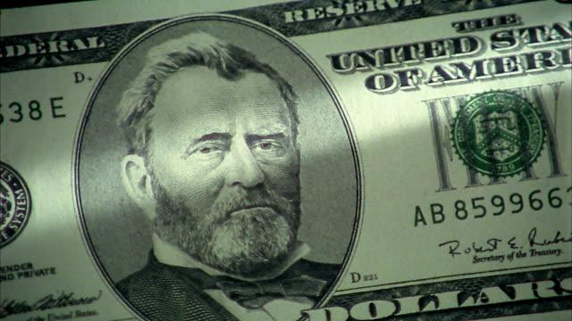 vídeos y material grabado en eventos de stock de extreme close up pan ulysses s grant portrait on $50 bill - ulysses s grant