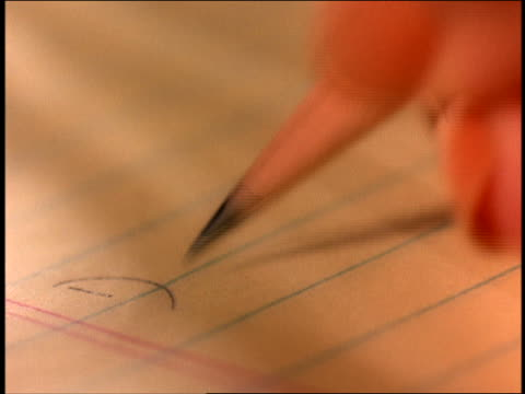 extreme close up pencil writing on piece of paper / pencil breaks - broken pencil stock videos & royalty-free footage