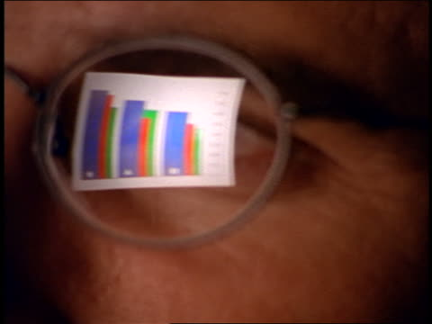 extreme close up reflection on computer screen with graph chart in businessman's eyeglasses