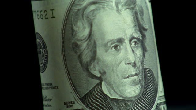 Extreme close up rotating $20 bill with Andrew Jackson portrait