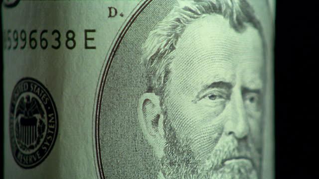 vídeos y material grabado en eventos de stock de extreme close up rotating $50 bill with ulysses s grant portrait - ulysses s grant