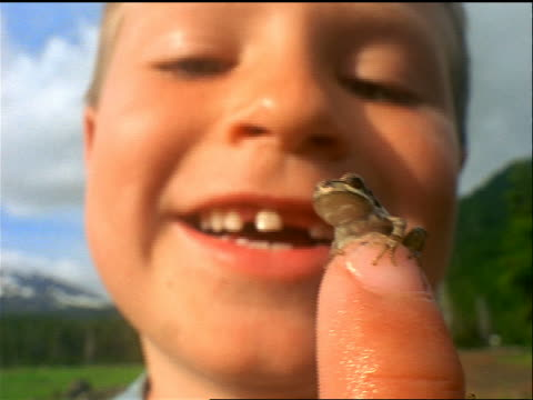 vidéos et rushes de extreme close up smiling boy with missing teeth holding tiny frog on his finger / sparks meadow, cascade mountains - doigt humain