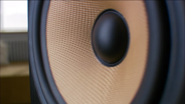 Extreme close up speaker playing music
