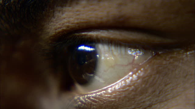 extreme close up static - a human eye blinks/india - eyeball stock videos and b-roll footage