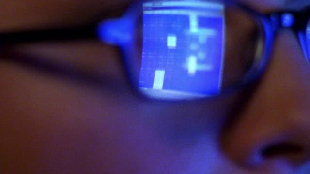 vídeos y material grabado en eventos de stock de extreme close up tilt up woman's face with spreadsheet on computer screen reflecting in eyeglasses - hoja de cálculo