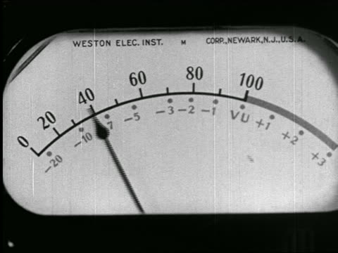 B/W 1938 extreme close up VU meter on radio studio control panel / newsreel