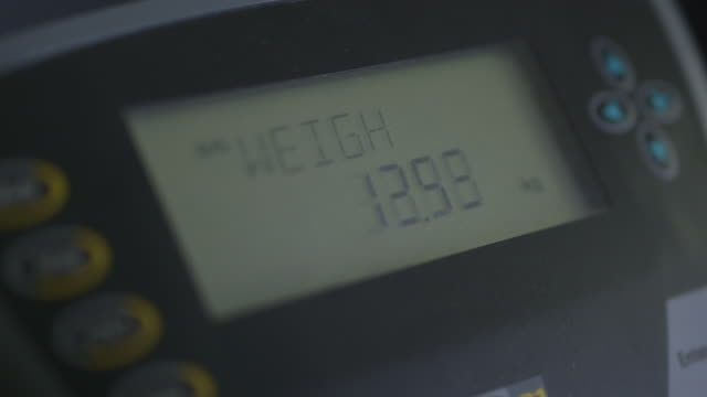 extreme close-up focussing on the kilograms measured by digital weighing scales as displayed by a monitor, uk. - scales stock videos & royalty-free footage
