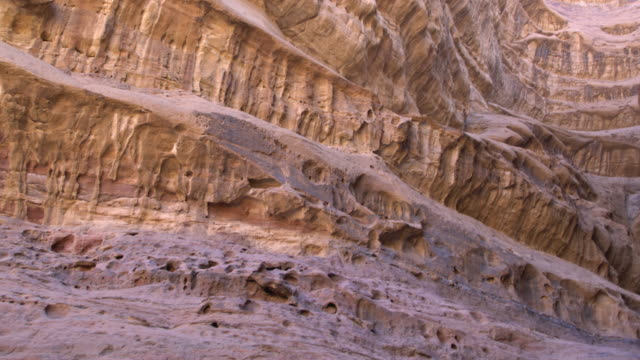 Extreme close-up of a dramatic sandstone rock formation in Wadi Rum Desert, Jordan