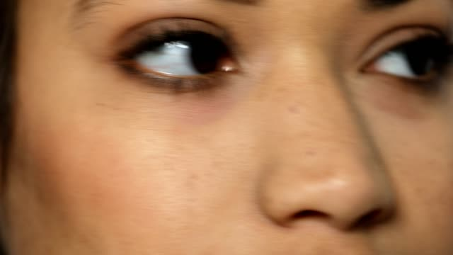 Extreme close-up of happy woman with brown eyes