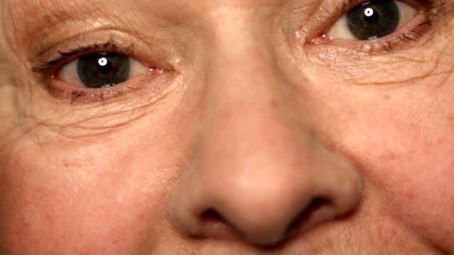 Extreme close-up of senior woman raising eyebrows