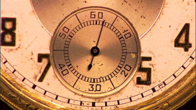 extreme close-up of the second hand moving on an antique pocket watch. - 懐中時計点の映像素材/bロール