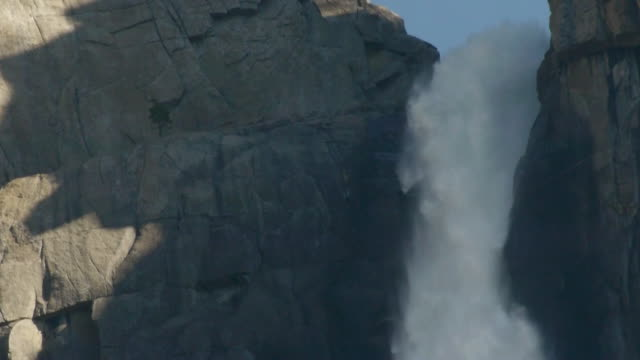 extreme closeup of water cascading over cliff at upper yosemite fall in yosemite national park, california - upper yosemite falls stock videos & royalty-free footage