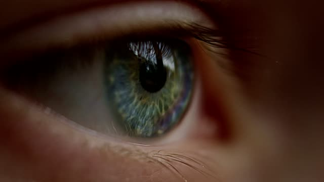 Extreme closeup on blue and green human eye