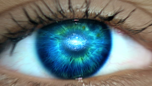 extreme closeup on blue eye. entering digital tunnel - anatomy stock videos & royalty-free footage