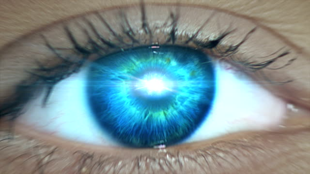 extreme closeup on blue eye. entering human mind - human brain stock videos & royalty-free footage