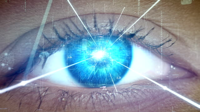 extreme closeup on blue eye. entering human mind - artificial intelligence stock videos & royalty-free footage