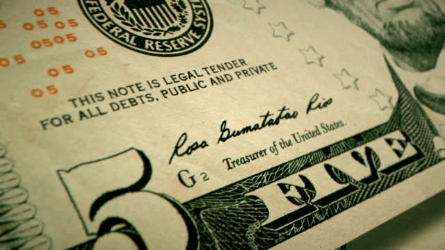 extreme closeup showing the engraving detail on the front of the u.s $5 dollar bill - number 5 stock videos & royalty-free footage
