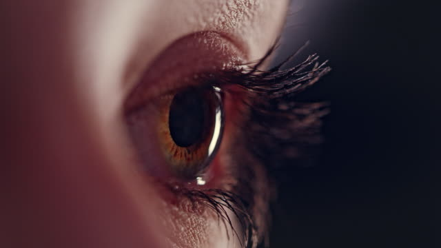 vidéos et rushes de coseup extrême sur l'oeil humain brun - près de