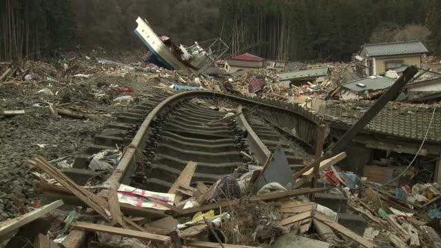 Extreme damage to the Japan Rail coastal line in Shizugawa, Miyagi, Japan on 3rd April 2011; after tsunami following Tohuku earthquake of March 2011.