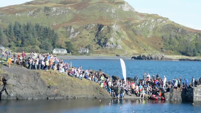 Extreme long Shot competitors compete in the World Stone Skimming Championships held on Easdale Island on September 29 2013 in EasdaleSeilScotland...