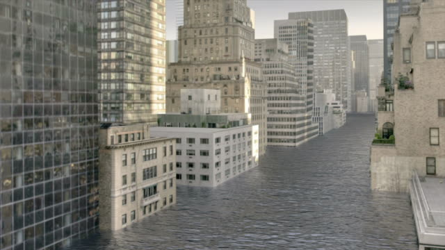 Extreme Long Shot crane - Floodwater nearly reaches the tops of New York City skyscrapers in a computer-generated animation. / New York City, New York, USA
