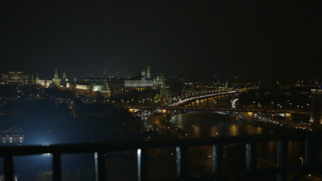 extreme long shot of the kremlin and moskva river from a balcony, moscow, russia. - moscow russia stock videos & royalty-free footage