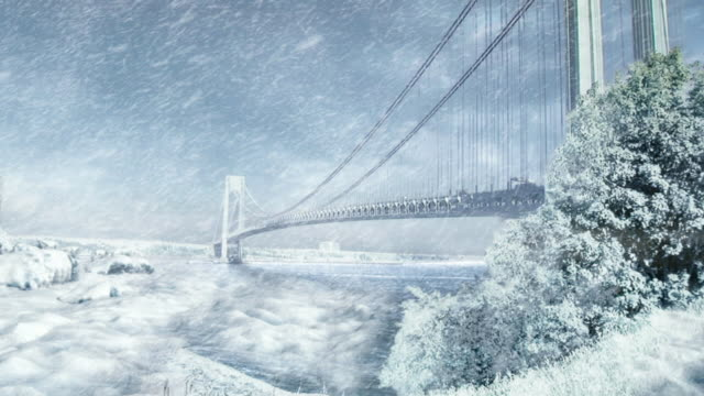 extreme long shot static - a glacier crowds new york city's verrazano narrows bridge in a computer-generated animation. / new york city, new york, usa - digital animation stock videos & royalty-free footage