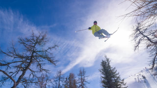 extreme skier performing a trick - skiing stock videos & royalty-free footage