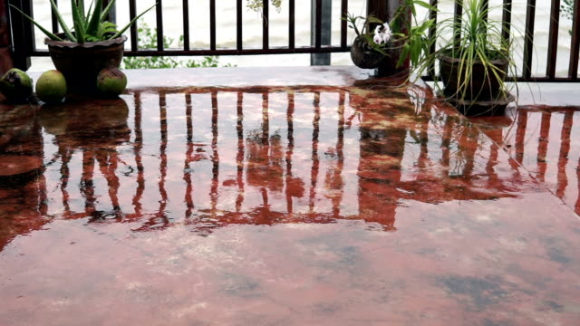 extreme weather: tropical monsoon rain - patio stock videos & royalty-free footage