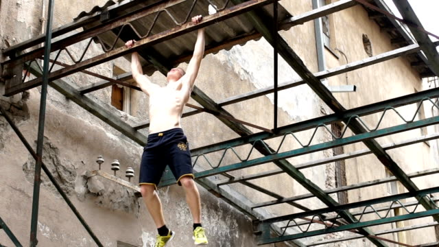 extreme workout in an old warehouse - abdominal muscle stock videos & royalty-free footage