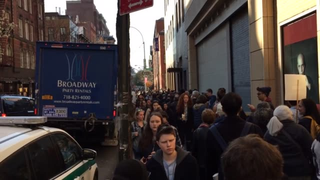 extremely large lines have mounted hours before a political rally in manhattan's washington square park sots from sen sanders supporters who were... - new york university stock videos & royalty-free footage