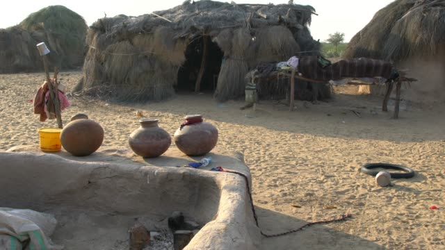 extremely poor huts in a small village in cholistan desert in pakistan - pakistan stock videos & royalty-free footage