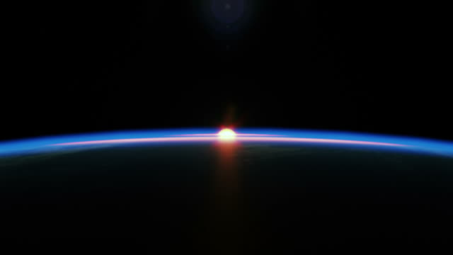 stockvideo's en b-roll-footage met extremely realistic & detailed sunrise seen from space - zonsopgang