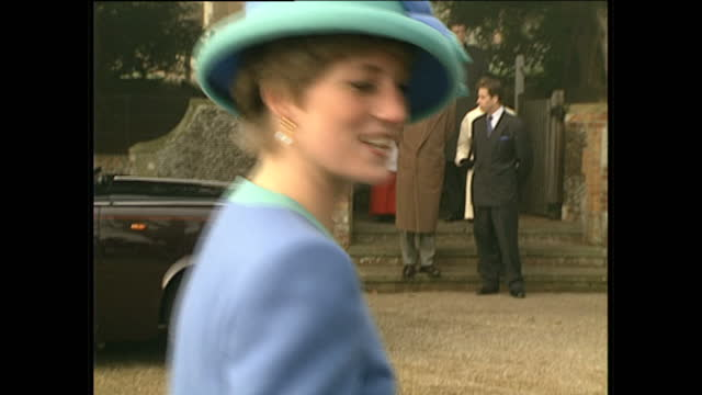 Extrerior shots of Queen Elizabeth and Prince Philip greeting the crowds followed by the Queen mother Princess Diana with Prince William and Prince...