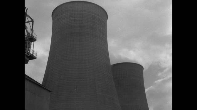 exts calder hall nuclear reactor, power lines and cooling towers; 1956 - 1956 stock videos & royalty-free footage