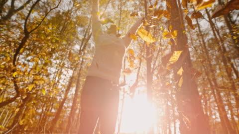 vídeos de stock e filmes b-roll de ms super slow motion exuberant young woman throwing golden autumn leaves overhead in forest - autumn