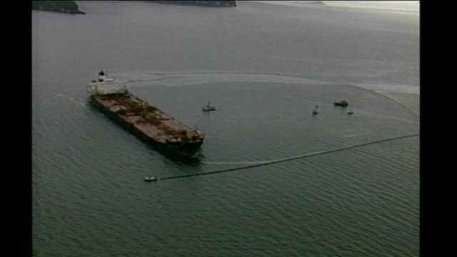 exxon oil disaster case begins at supreme court alaska prince william sound air views / aerials of exxon valdez oil spill as captain of ship speaking... - oil spill stock videos & royalty-free footage