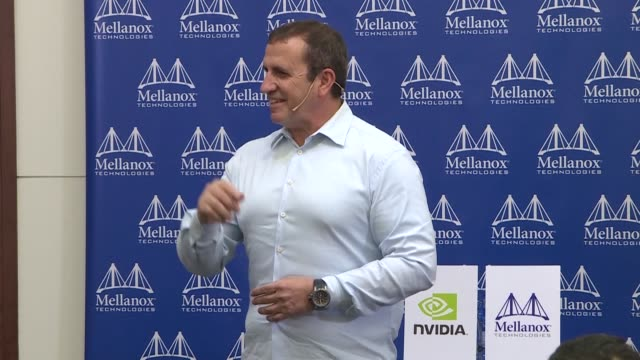Eyal Waldman co founder and CEO of Israeli data center firm Mellanox discusses during a news conference in Tel Aviv the news announced Monday that US...