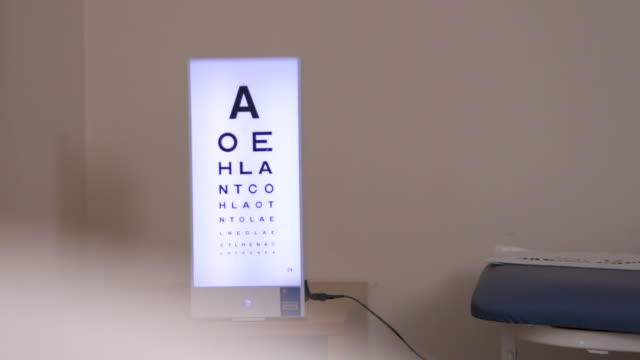 eye chart in optician's office slow motion - type 1 diabetes stock videos & royalty-free footage