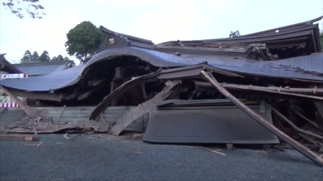 eye level view of completely crushed aso shrine after consecutive earthquakes attacked central kumamoto 2016 kumamoto earthquakes 16th april - shrine stock videos & royalty-free footage
