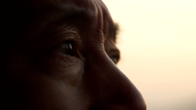 eye of elderly man looking out - chinese ethnicity stock videos & royalty-free footage